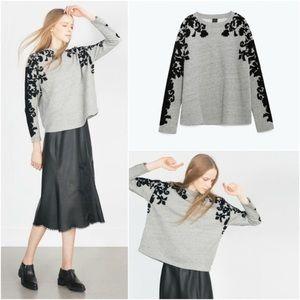 Zara Plush Flocked Sweatshirt
